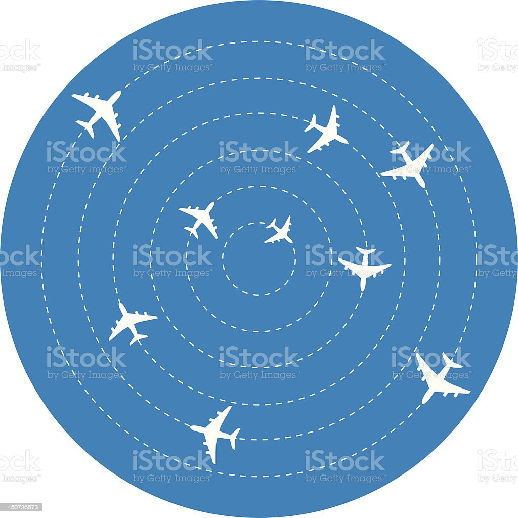 Planes Circling vector art illustration