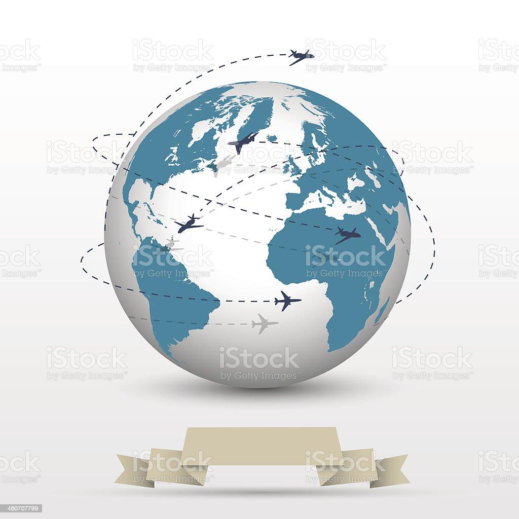 Planes flying around the globe vector art illustration