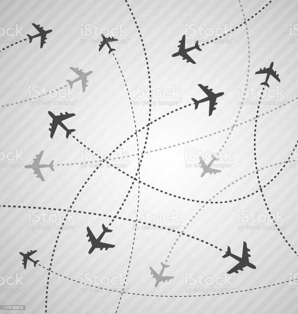 Planes flying everywhere background royalty-free stock vector art