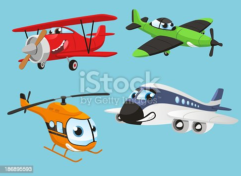 Planes human Helicopter Plane Aircraft Boeing Airbus, vector illustration cartoon with humanized planes.