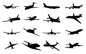 Planes silhouette set