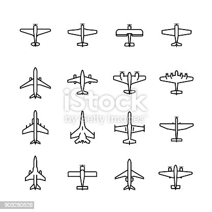 Planes vector icon set in thin line style