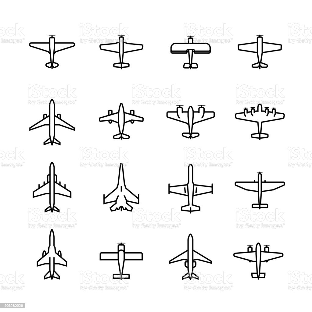 Planes vector icon set in thin line style vector art illustration
