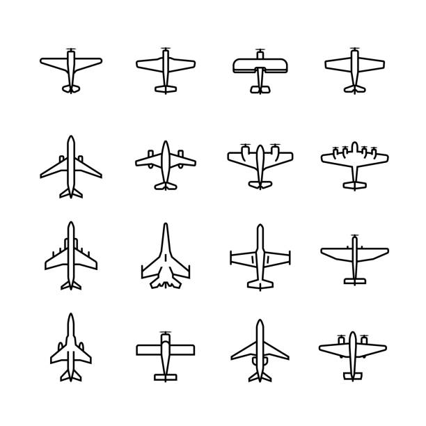 Planes vector icon set in thin line style Planes vector icon set in thin line style fighter plane stock illustrations