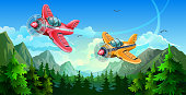 Planes fly in the sky, over the forest and mountains. A yellow and a red planes with a propeller. Vector illustration.