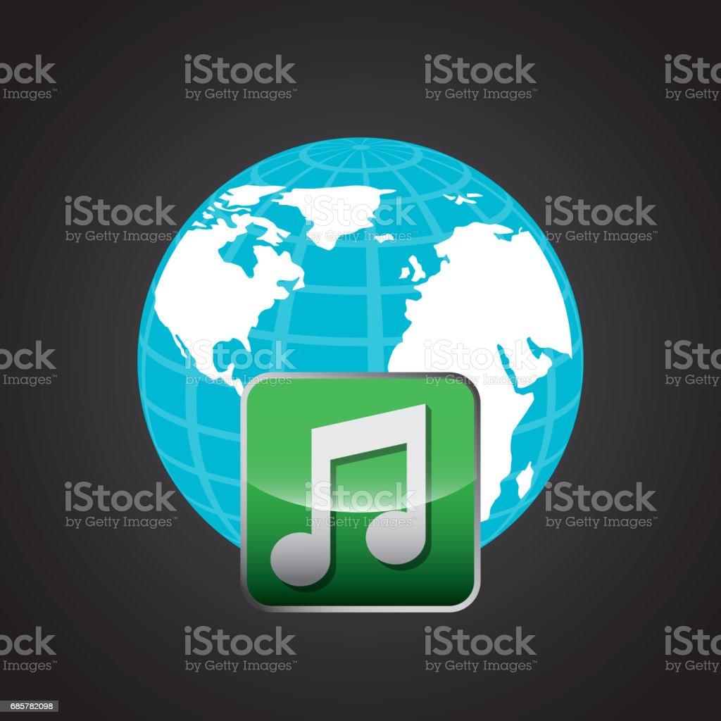 Icône de note de musique et de la planète. Conception de médias sociaux. Illustration vectorielle icône de note de musique et de la planète conception de médias sociaux illustration vectorielle – cliparts vectoriels et plus d'images de affichage digital libre de droits