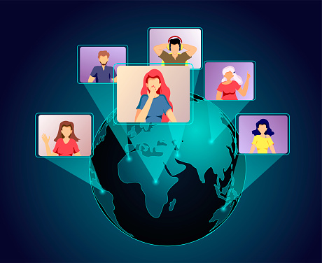 Planet and people talking by internet. Video conferencing, Online meeting, Distance working and learning, communication concept. Vector illustration for poster, banner, commercial, advertising.
