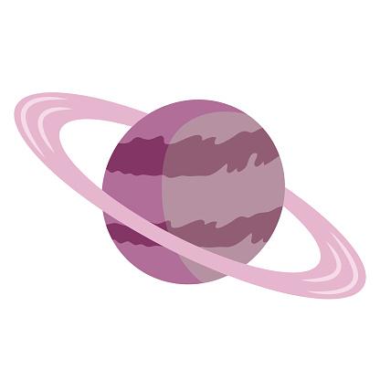 Planet, celestial body cartoon vector illustration. Solar system