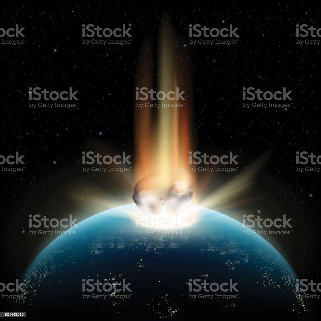 Planet earth and asteroid vector art illustration