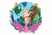 Illustration of planet Earth and a raised hand surrounded with tropical leaves