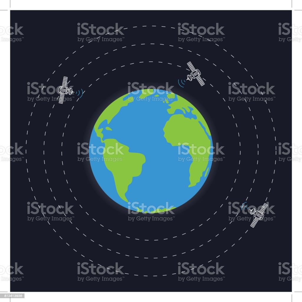 Planet earth and round satellite orbits vector illustration