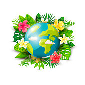 istock Planet Earth and tropical leaves and flowers 1314168864