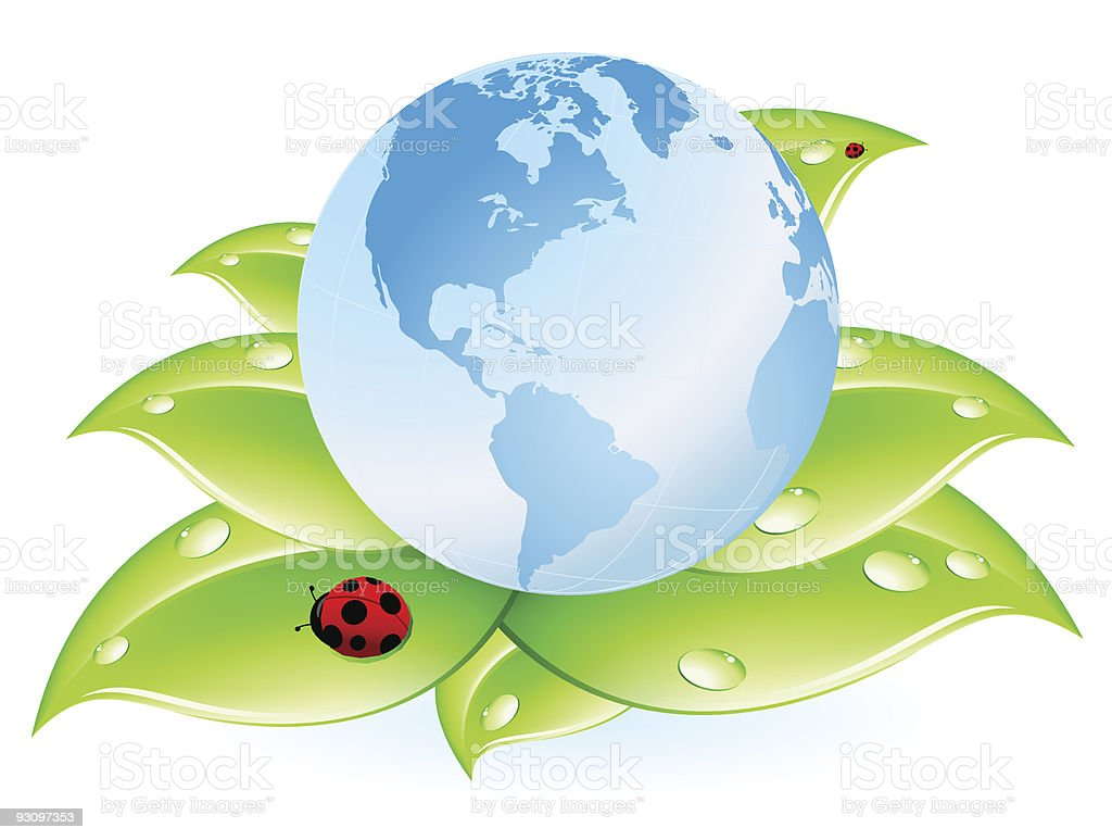 planet Earth blue and leaves royalty-free stock vector art