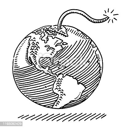 istock Planet Earth Burning Fuse Drawing 1193092429
