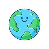 Vector illustration of an emoticon of the planet Earth in a cartoon style, flat color and soft shadows. Ideal for social media ideas and concepts, online messaging, mobile apps and technology and business. Also good for travel and transportation concepts and ideas.