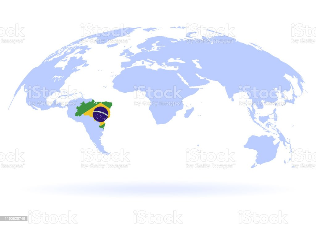 Image of: Planet Earth Flag Of Brazil The Earth World Map On White Background Vector Illustration Eps 10 Stock Illustration Download Image Now Istock