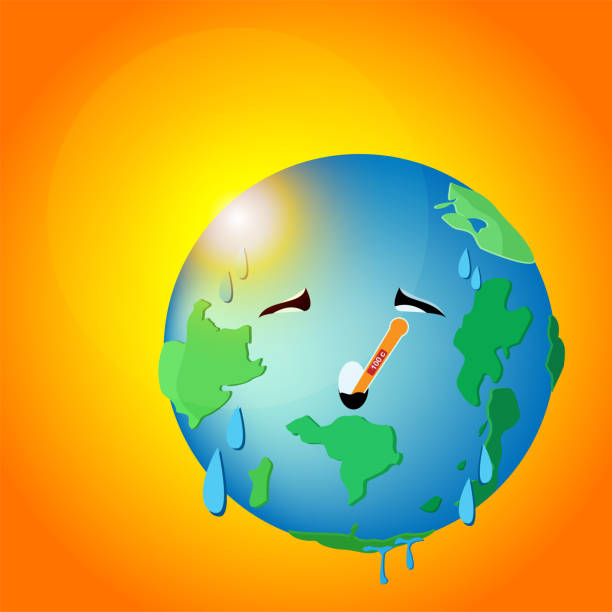 planet earth get temperater heat or hot weather ,vector planet earth get temperature heat or hot weather ,vector heat wave stock illustrations
