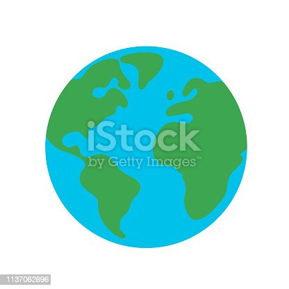 istock Planet earth globe flat design icon for web and mobile, banner, infographics. 1137062696