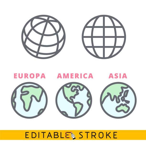 bildbanksillustrationer, clip art samt tecknat material och ikoner med planeten jord klot ikonen sätta. lätt redigerbar linje vektor. - swedish nature