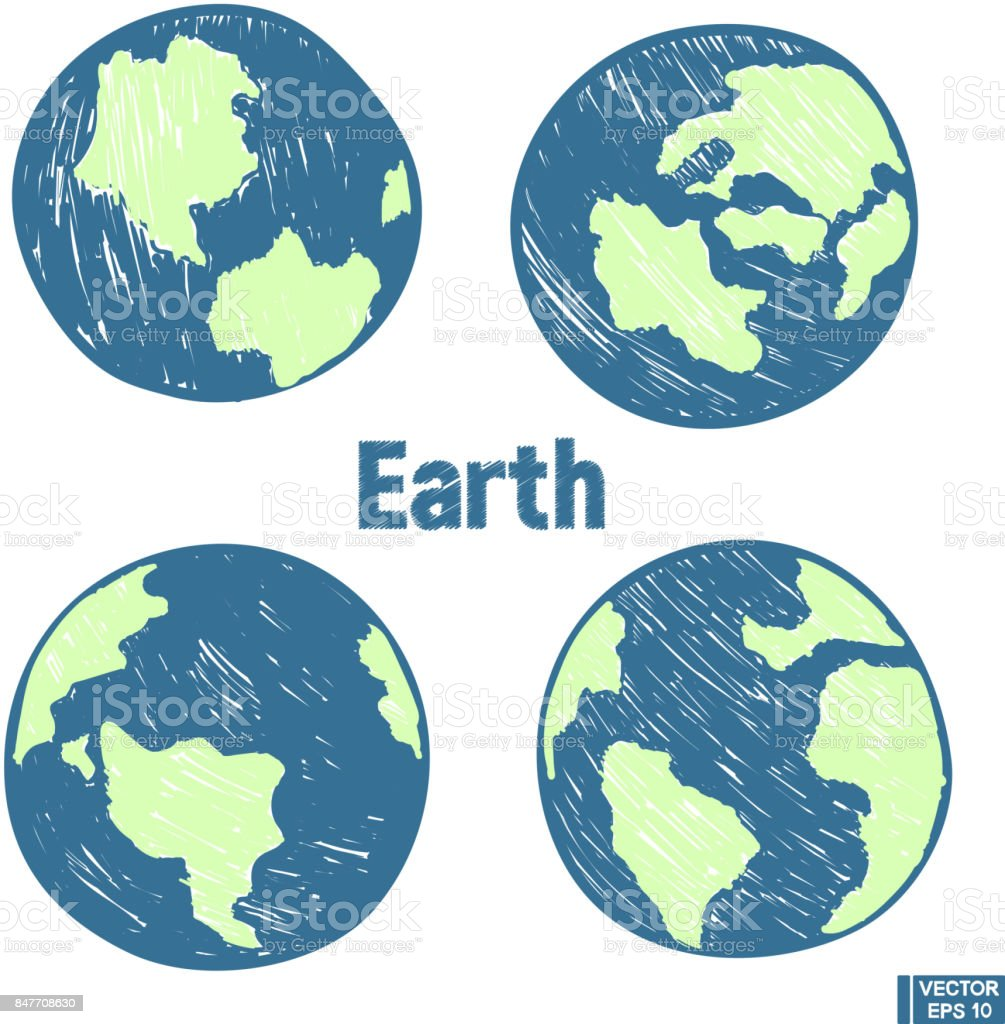 Planet Earth Hand Draw Set Stock Vector Art More Images Of