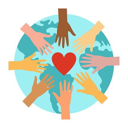 Planet Earth, hands and heart - a symbol of peace and unity of communities. vector illustration