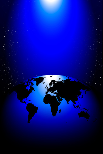 planet earth hemisphere of the globe against the blackness of space