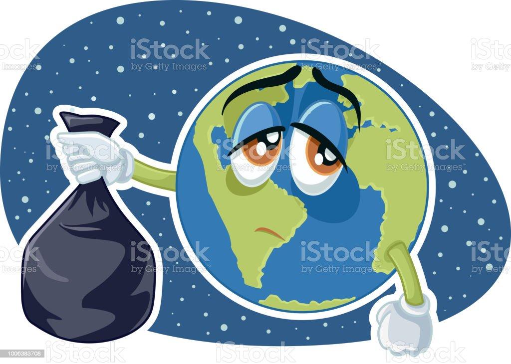 Plástica De Tierra Basura Vector Bolsa Ilustración Planeta Con kn0wOP