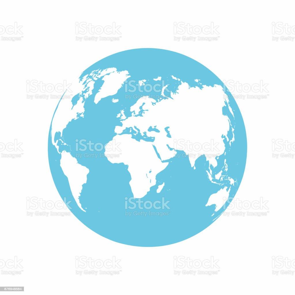 Planet Earth-Symbol. Erdkugel, die isoliert auf weißem Hintergrund – Vektorgrafik