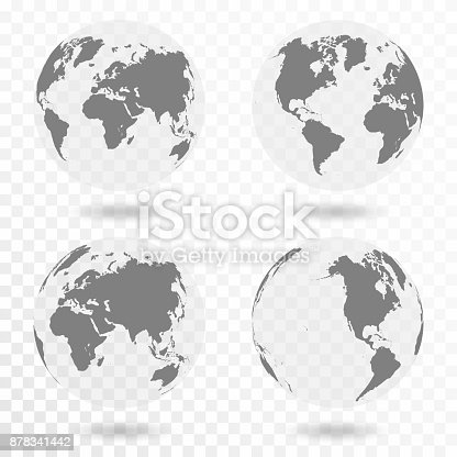 Planet Earth icon set. Earth globe isolated on transparent background. Vector