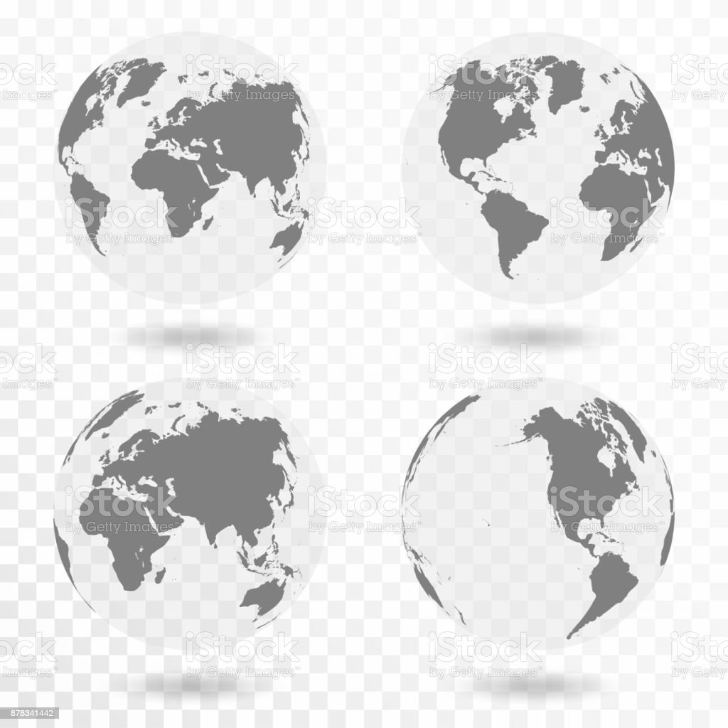 Planet Earth icon set. Earth globe isolated on transparent background vector art illustration