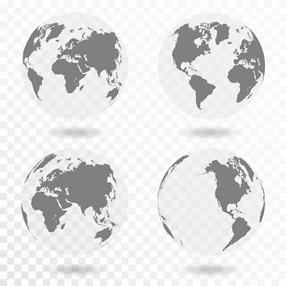 Planet Earth Icon Set Saydam Arka Plan Üzerinde Izole Dünya Küre Stok Vektör Sanatı & Afrika'nin Daha Fazla Görseli