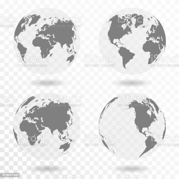 Planet Earth Icon Set Earth Globe Isolated On Transparent Background - Arte vetorial de stock e mais imagens de Abstrato