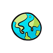 Vector illustration of the Planet Earth in a cartoon and colorful style. Ideal for education ideas and concepts as well as social media, business, travel and transportation projects.