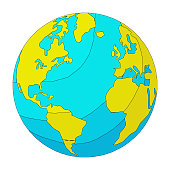Vector illustration of the planet earth in a cartoon and colorful style