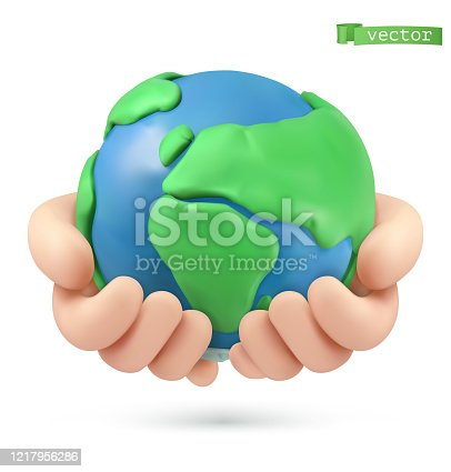 Planet earth in hands icon. 3d vector object. Handmade plasticine art illustration