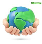Planet earth in hands icon. 3d vector object. Handmade plasticine art illustration