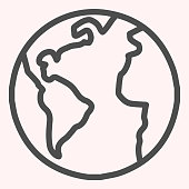 Planet Earth line icon. World view with oceans and continents. Astronomy vector design concept, outline style pictogram on white background, use for web and app. Eps 10