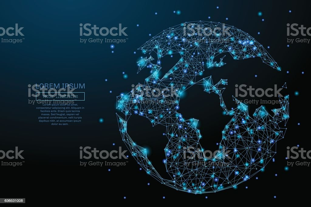 planet Earth low poly blue vector art illustration