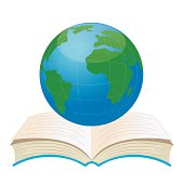 planet earth on an open book