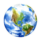 Planet earth on white background. Watercolor vector illustration
