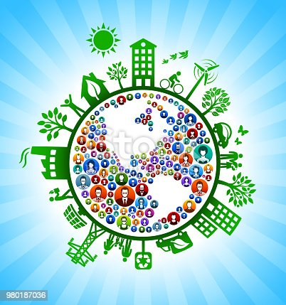 Planet Earth People Green Environmental Conservation Background