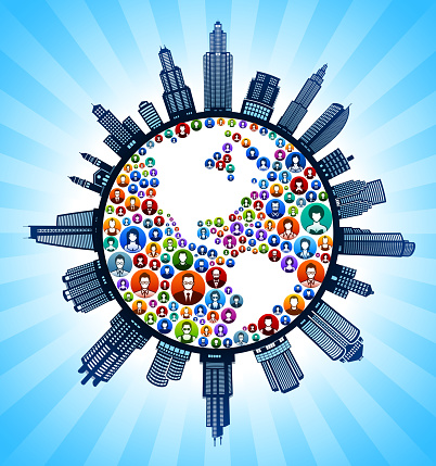 Planet Earth People Modern Cityscape Skyline Background