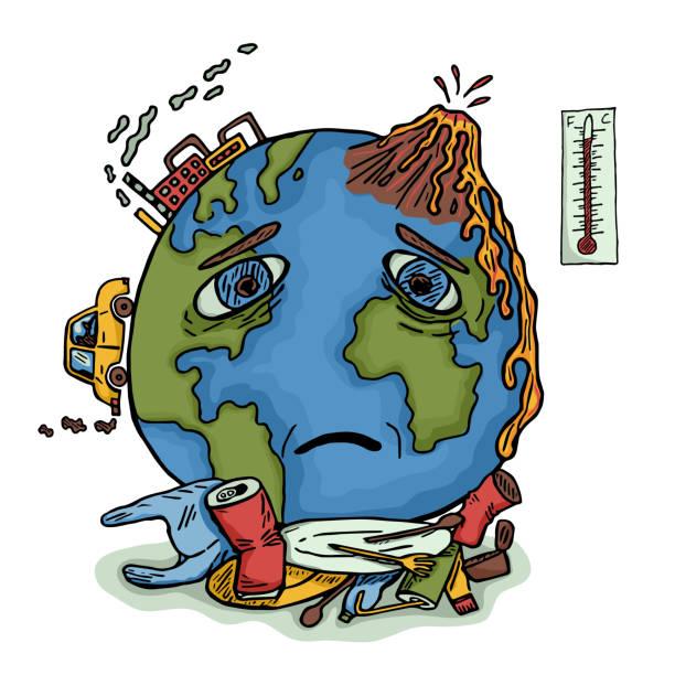 ilustrações de stock, clip art, desenhos animados e ícones de planet earth pollution vector illustration - alter do chão