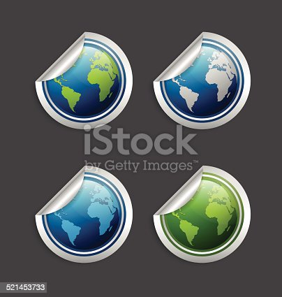 Set of silver or platinum glossy planet Earth stickers isolated on background