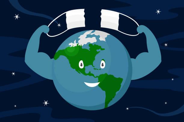 stockillustraties, clipart, cartoons en iconen met planeet aarde scheurt medisch masker. pandemisch einde. vectorillustratie - tears corona
