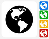 Planet Earth.The icon is black and is placed on a square vector button. The button is flat white color and the background is light. The composition is simple and elegant. The vector icon is the most prominent part if this illustration. There are four alternate button variations on the right side of the image. The alternate colors are red, yellow, green and blue.
