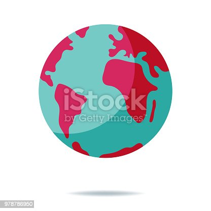 Vector illustration of a flat design and cartoon style planet Earth