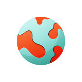 Vector illustration of the planet earth in vibrant and vivid colors. Ideal for design projects, social media designs and business and technology ideas and concepts.