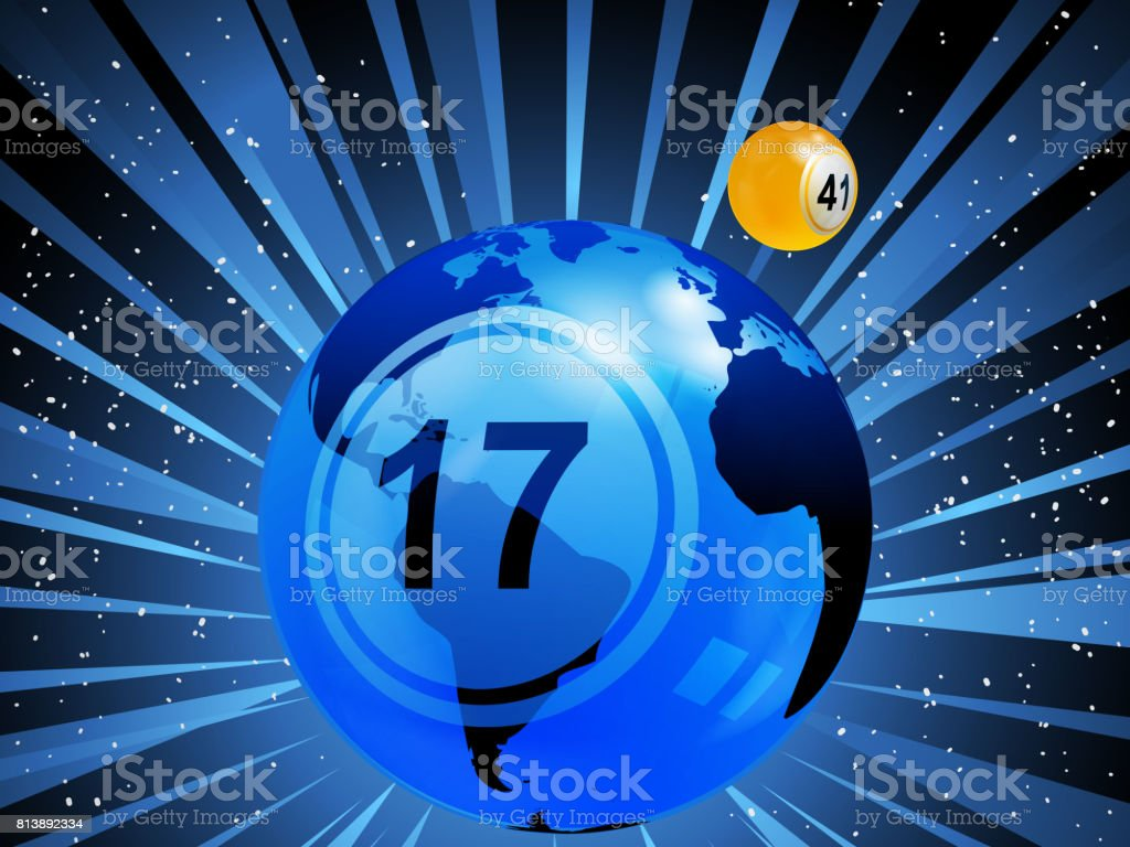 Planet earth with bingo lottery number in the space vector art illustration