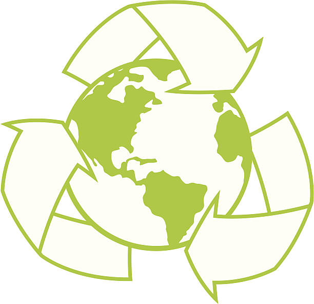 Planet Earth with Recycle Symbol vector art illustration